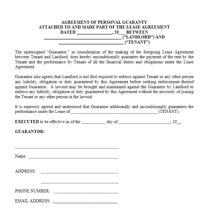 Agreement of Personal Guaranty for Lease Agreement