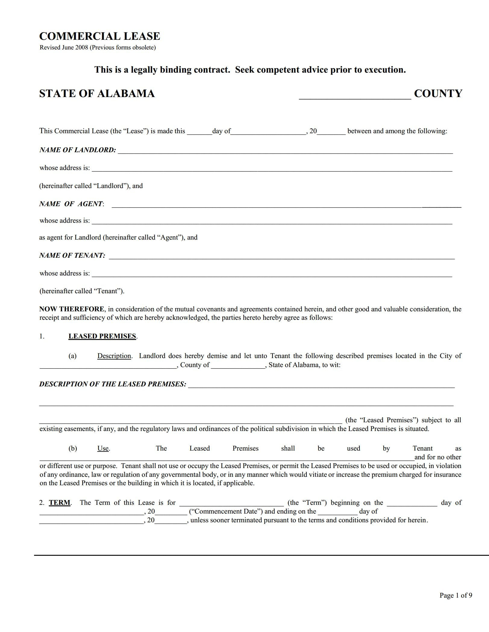 Alabama Commercial Lease Agreement
