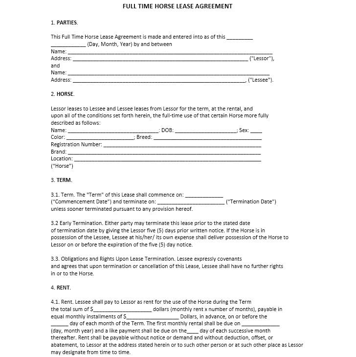 Download Free Full Time Horse Lease Agreement - Printable Lease