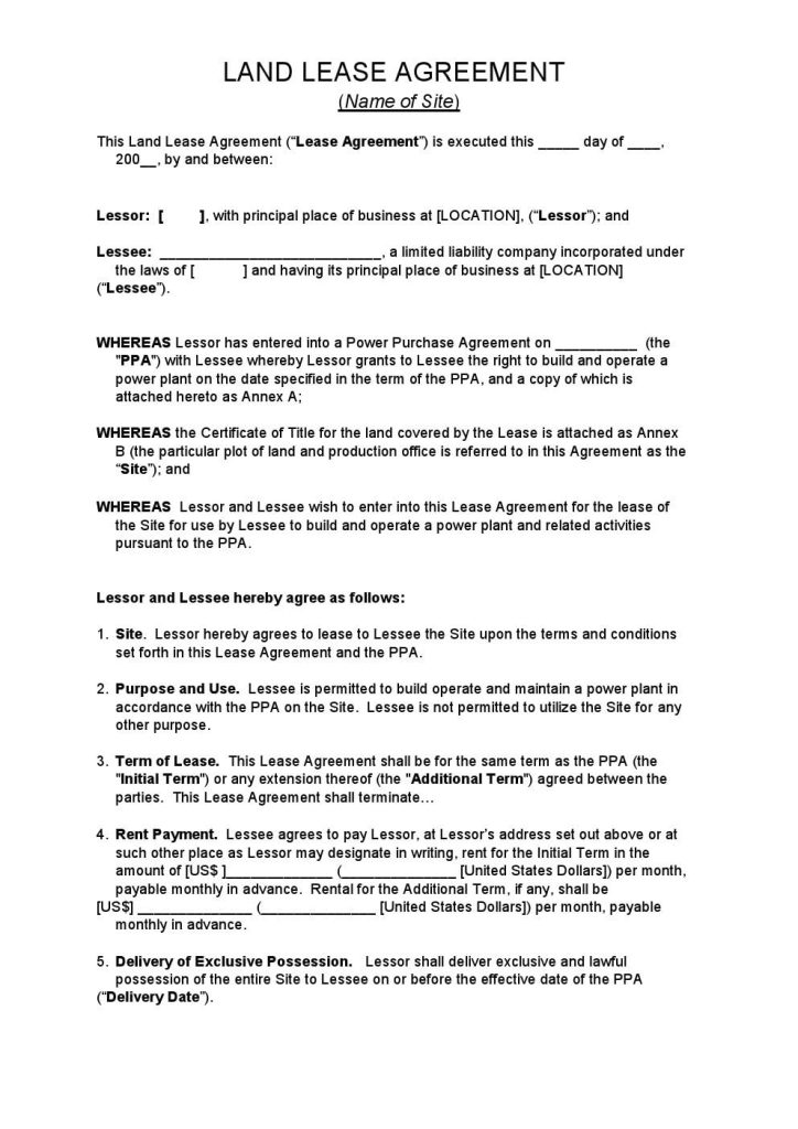 Download Free Land Lease Agreement - Printable Lease Agreement