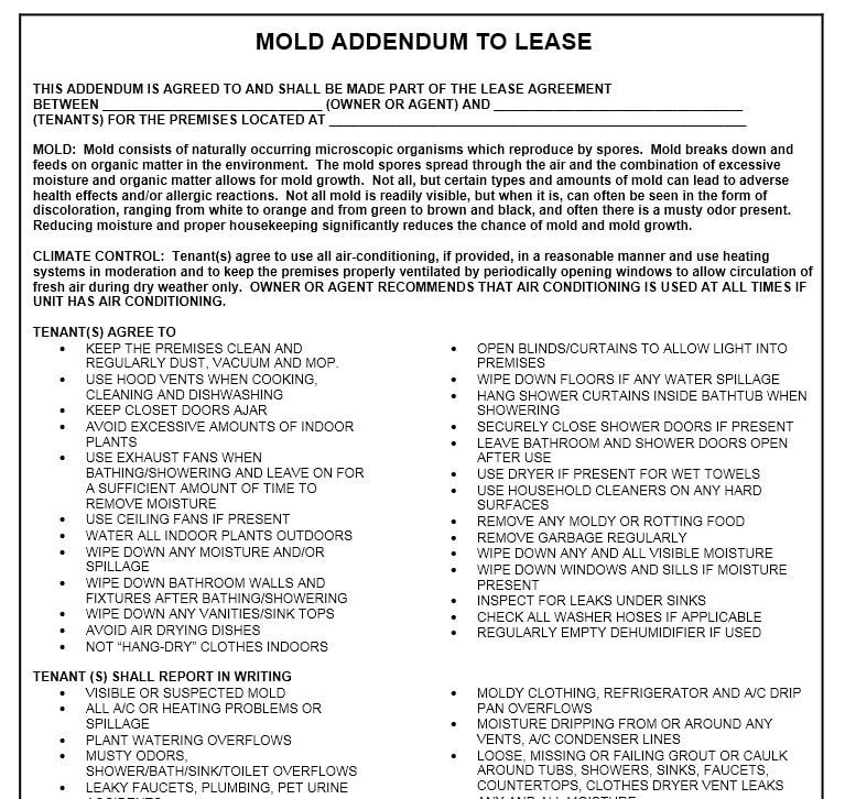 Download Free Mold Addendum To Lease - Printable Lease Agreement