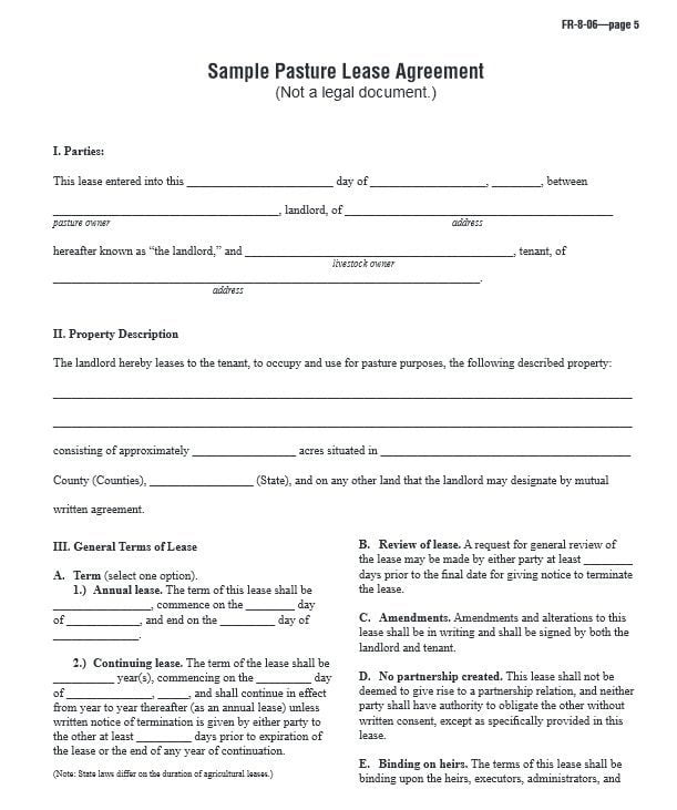 Download Free Sample Pasture Lease Agreement  Printable Lease