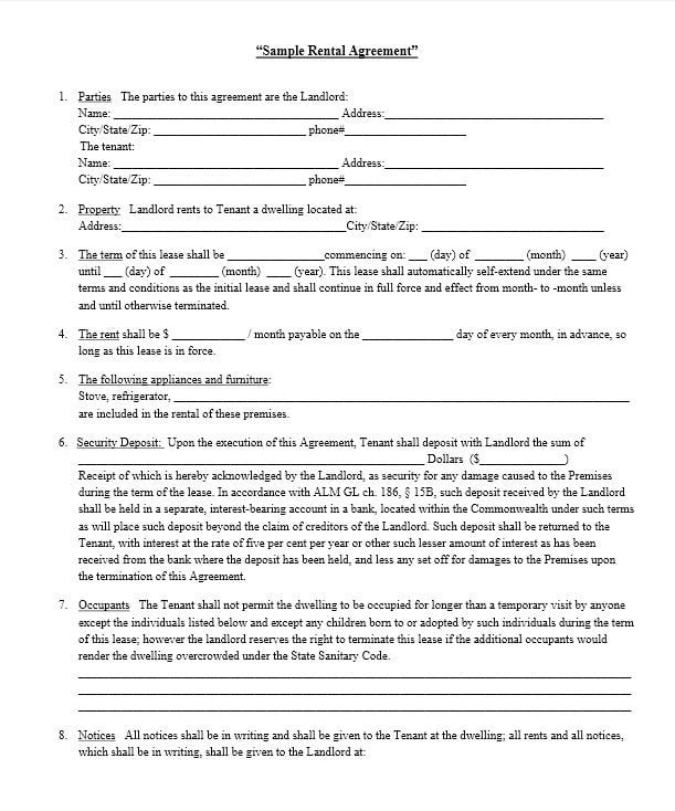 Download Free Sample Rental Lease Agreement  Printable Lease