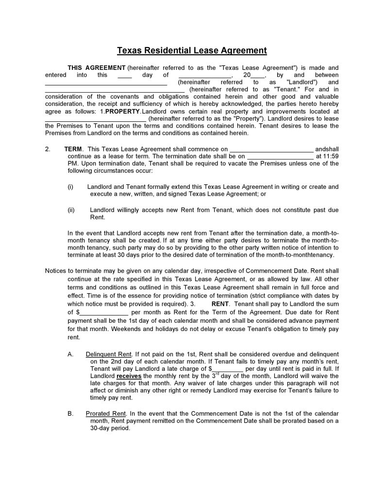 download free texas residential lease agreement