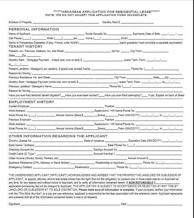 Download Free Arkansas Rental Application Template - Printable