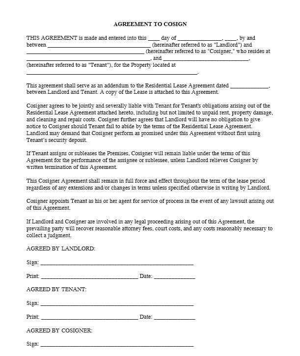 Download Free Agreement To Cosign Printable Lease Agreement