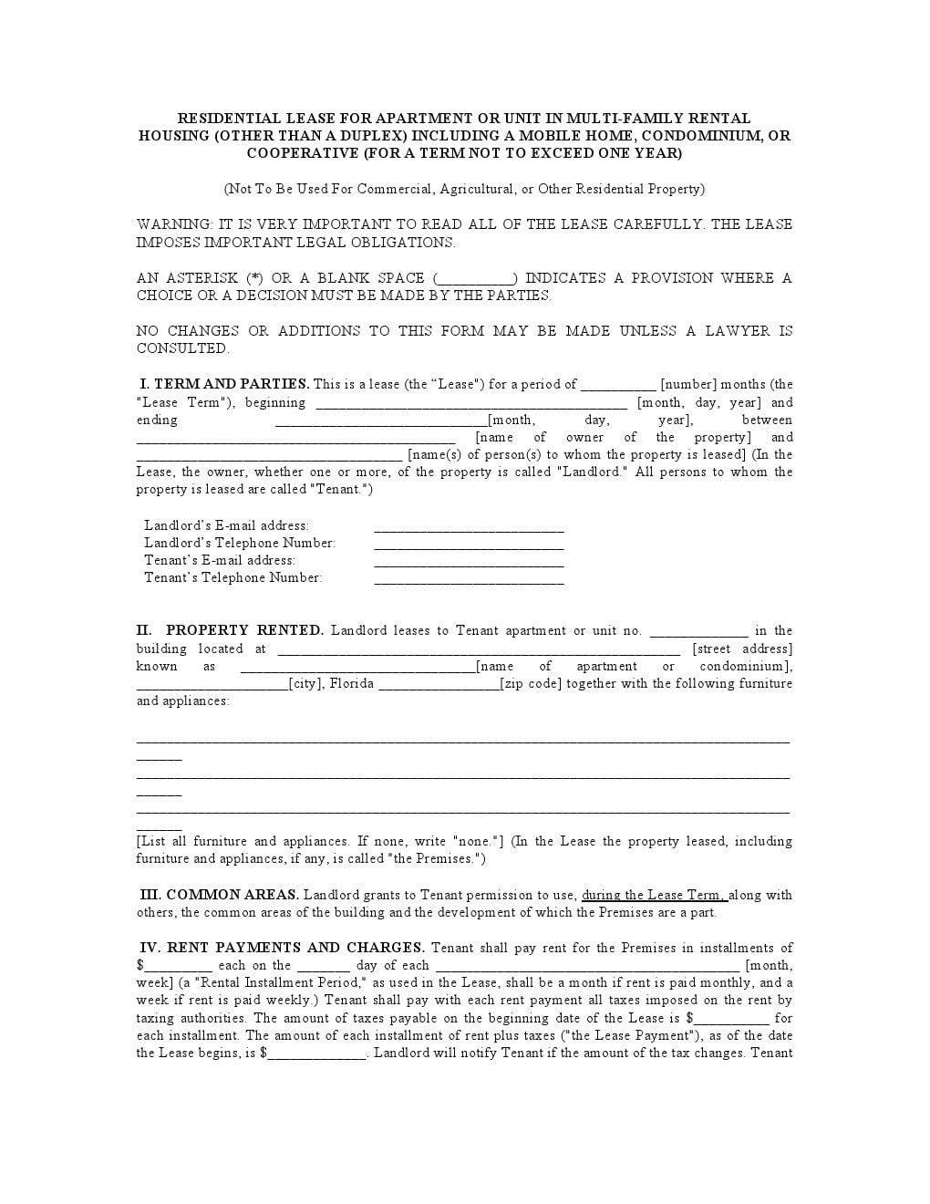 Download Free Florida Residential Lease Agreement Printable Lease