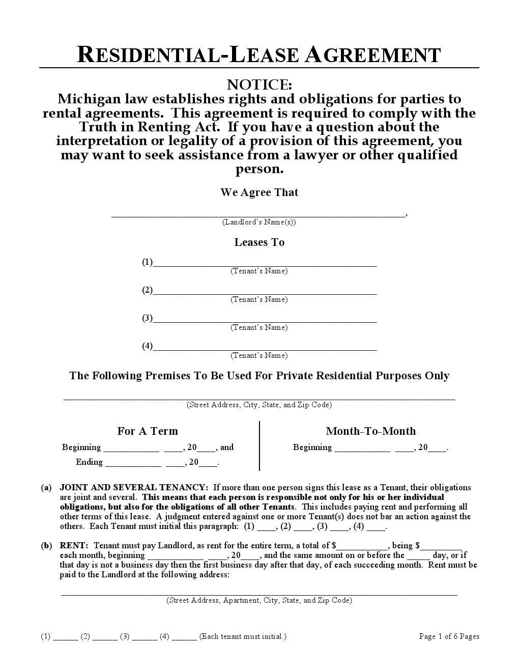 Michigan Residential Lease Agreement  Blank Lease Agreement