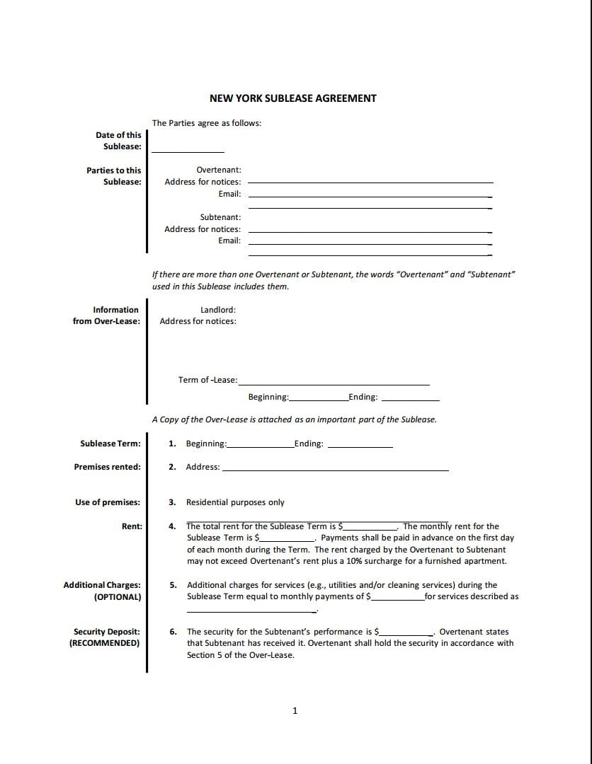 Download Free New York Sublease Agreement Printable