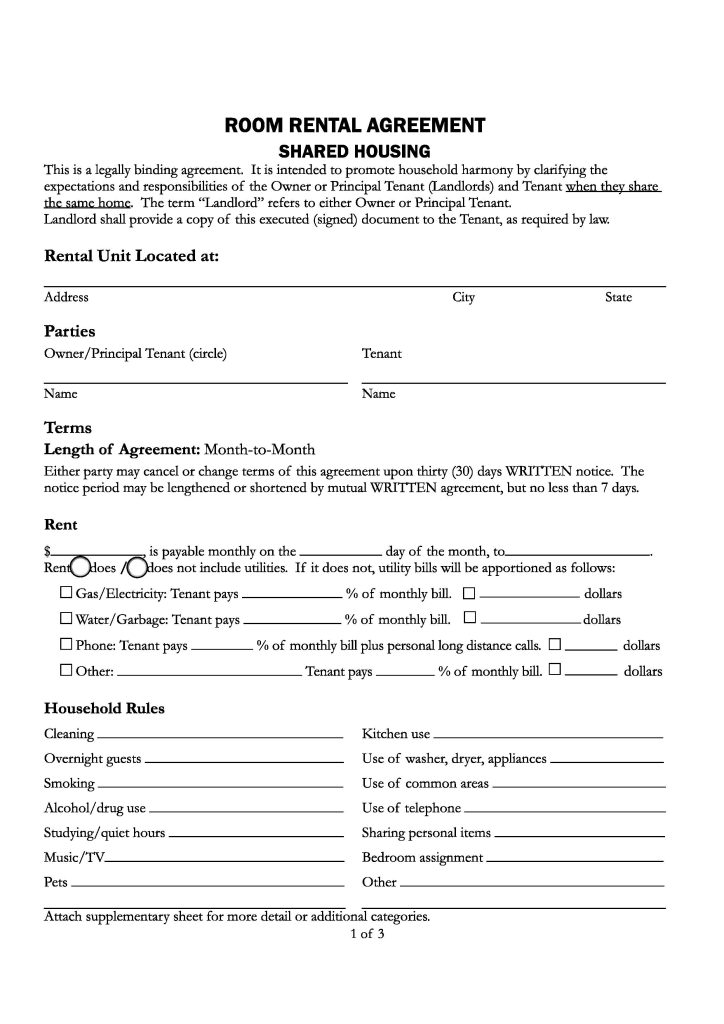 Download Free California Room Rental Agreement Printable Lease