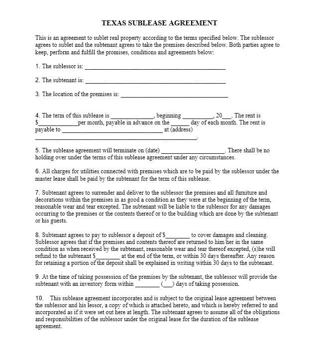 Download Free Texas Sublease Agreement Printable Lease Agreement