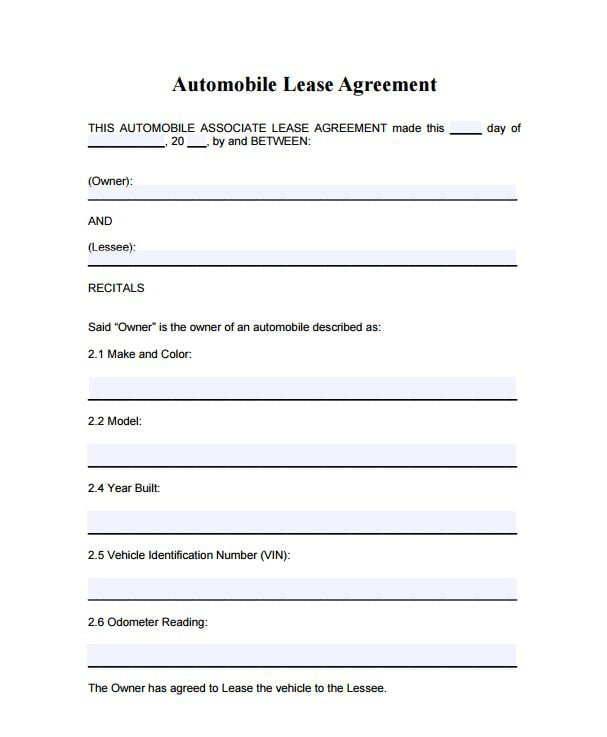 Automobile Lease Agreement