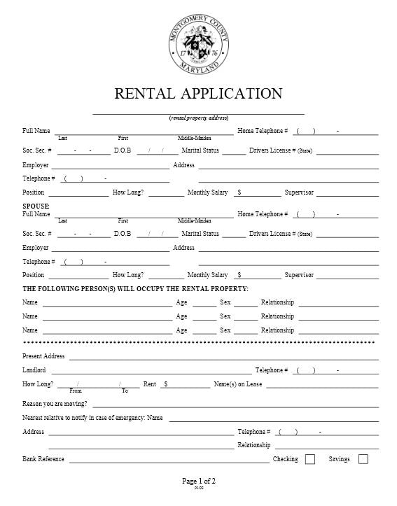 Download Free Maryland Rental Application Form  Printable Lease