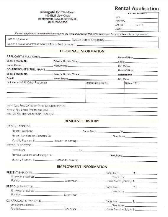 Download Free New Jersey Rental Application Form  Printable Lease