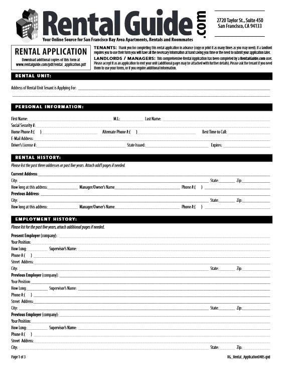 San Francisco Rental Application Form
