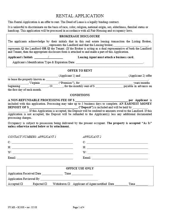 Download Free Virginia Rental Application Form Printable