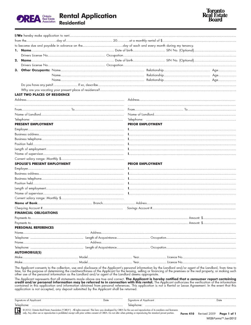 Download Free Ontario Toronto Rental Application Form