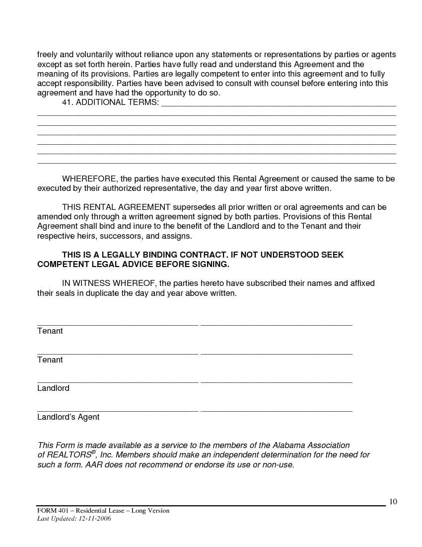 Download Free Alabama Month To Month Rental Agreement