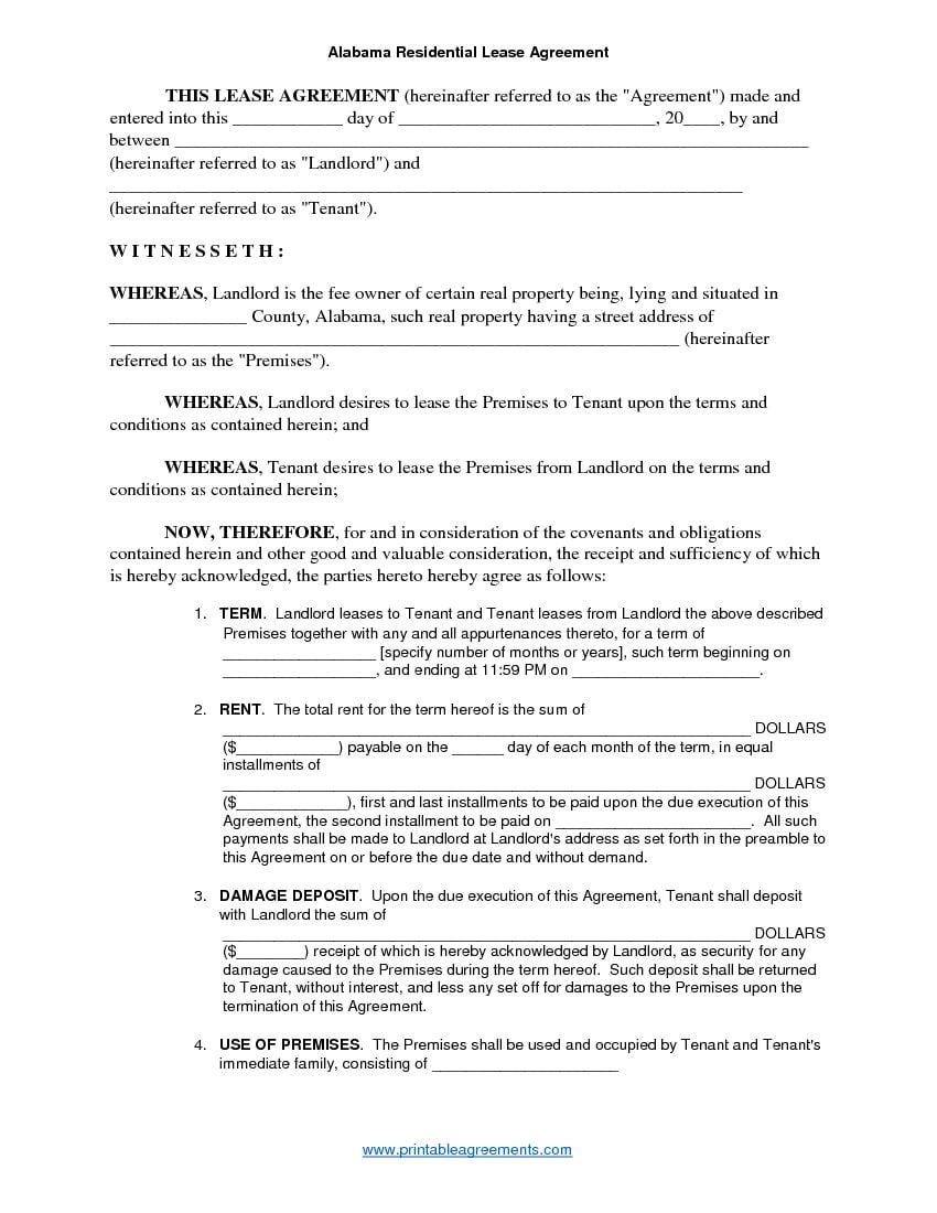 Download Free Alabama Residential Lease Agreement