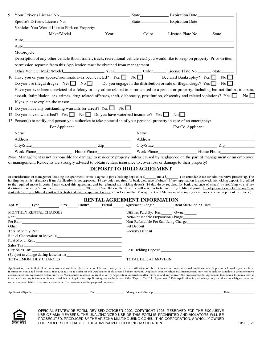 Download Free Arizona Rental Application Form Printable