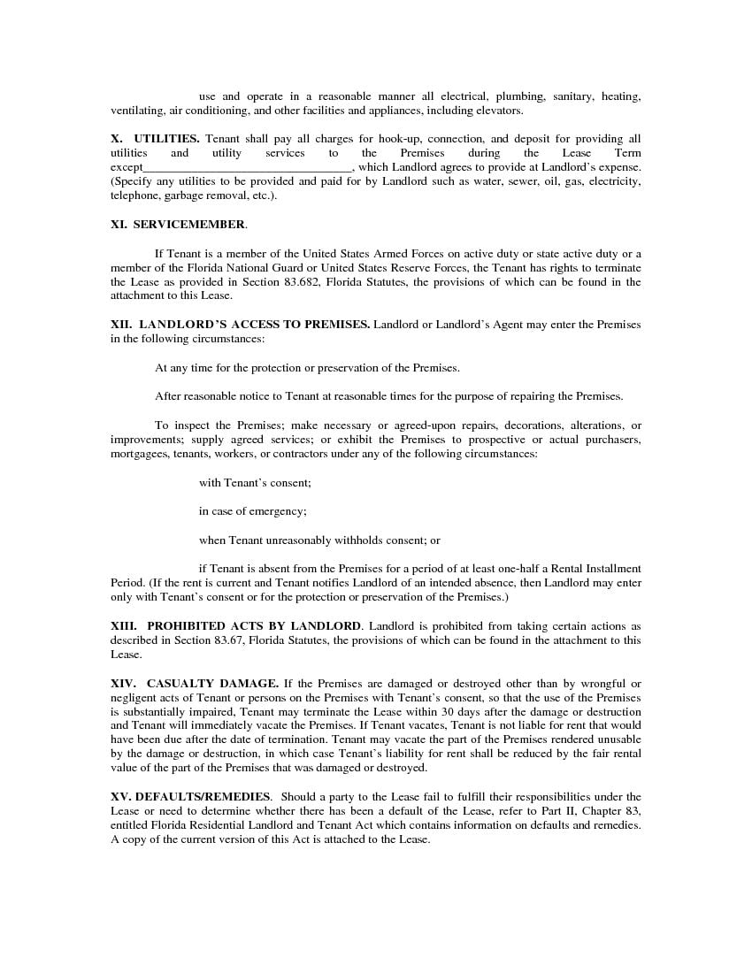 Download Free Florida Residential Lease Agreement