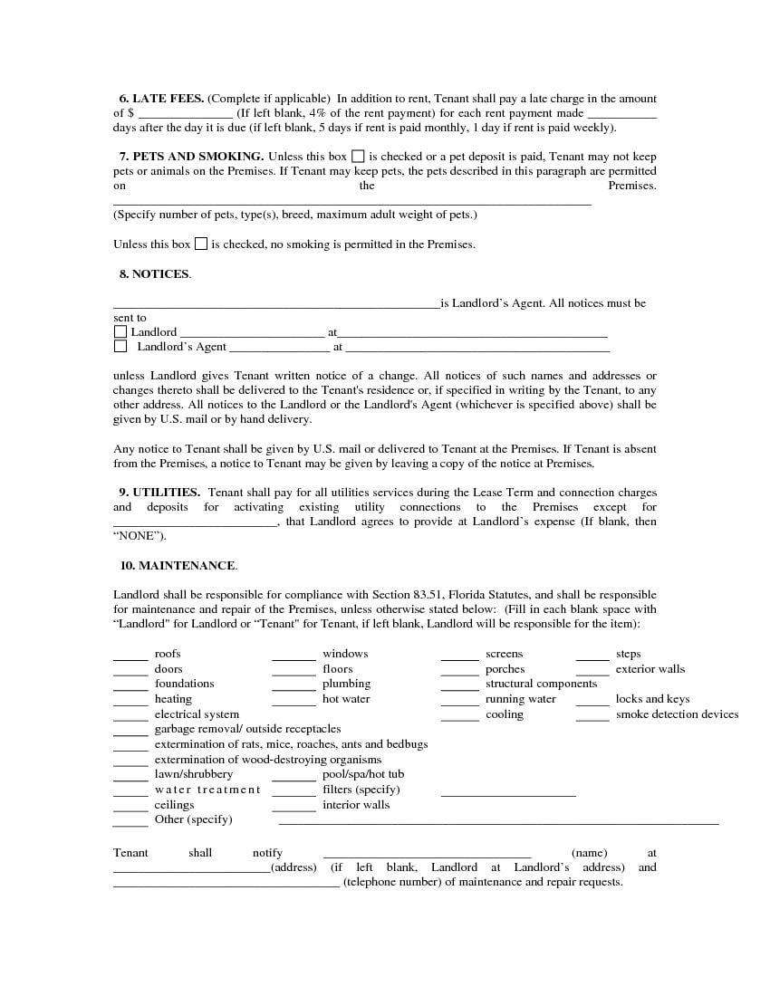 Download Free Florida Single Family Residential Lease Agreement
