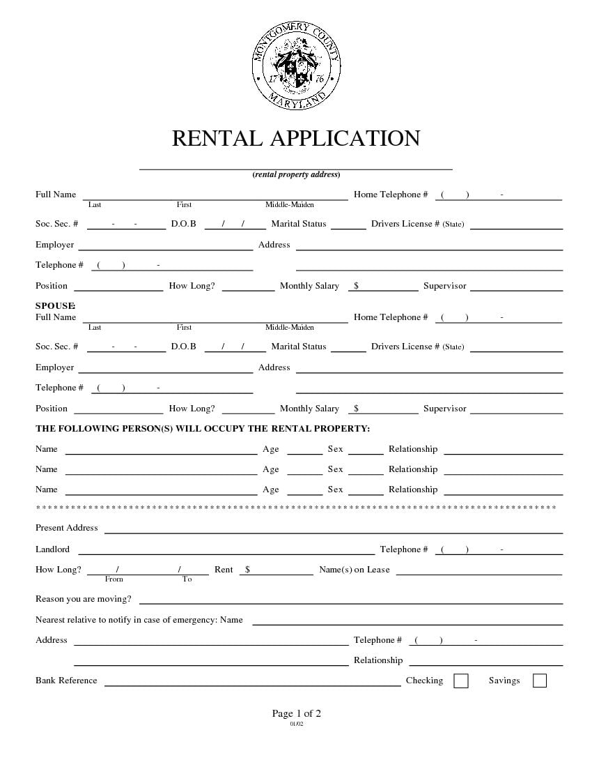 Download Free Maryland Rental Application Form Printable