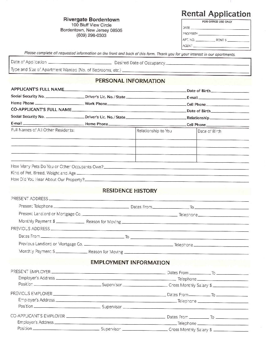 Download Free New Jersey Rental Application Form