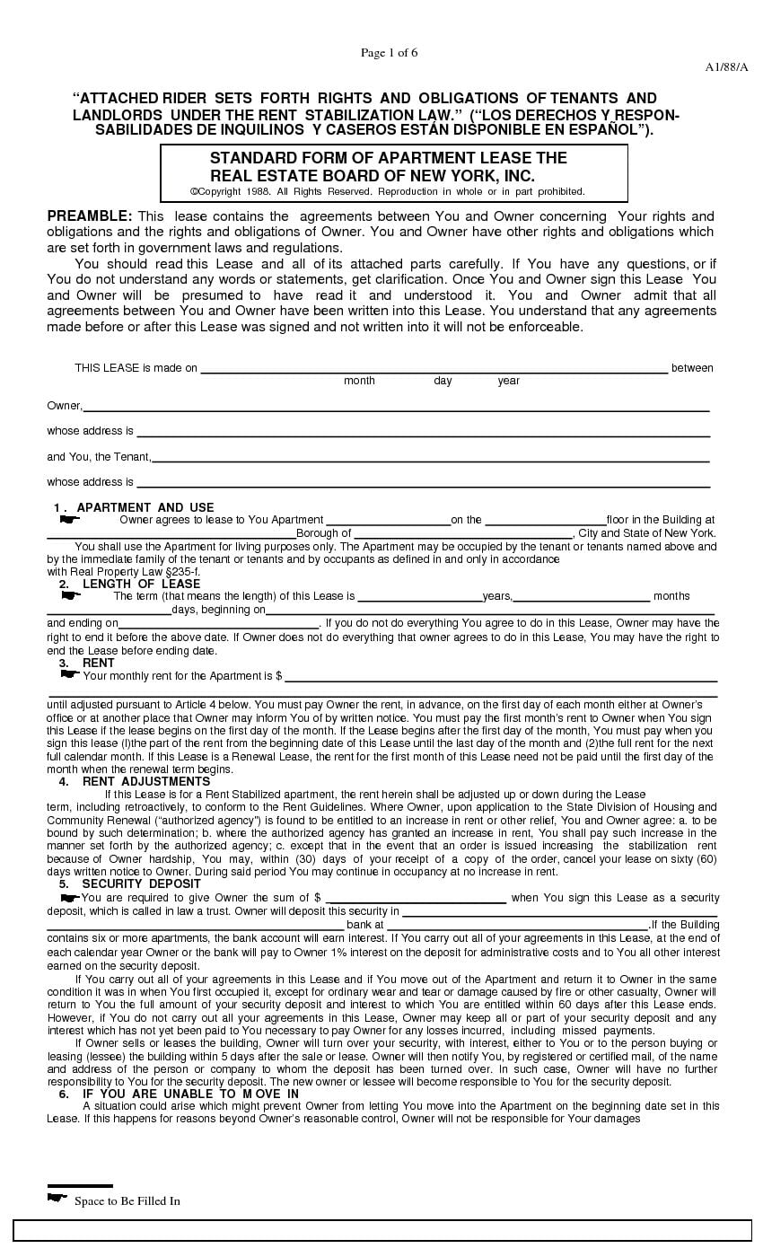 Download Free New York Standard Rental Lease Stabilized
