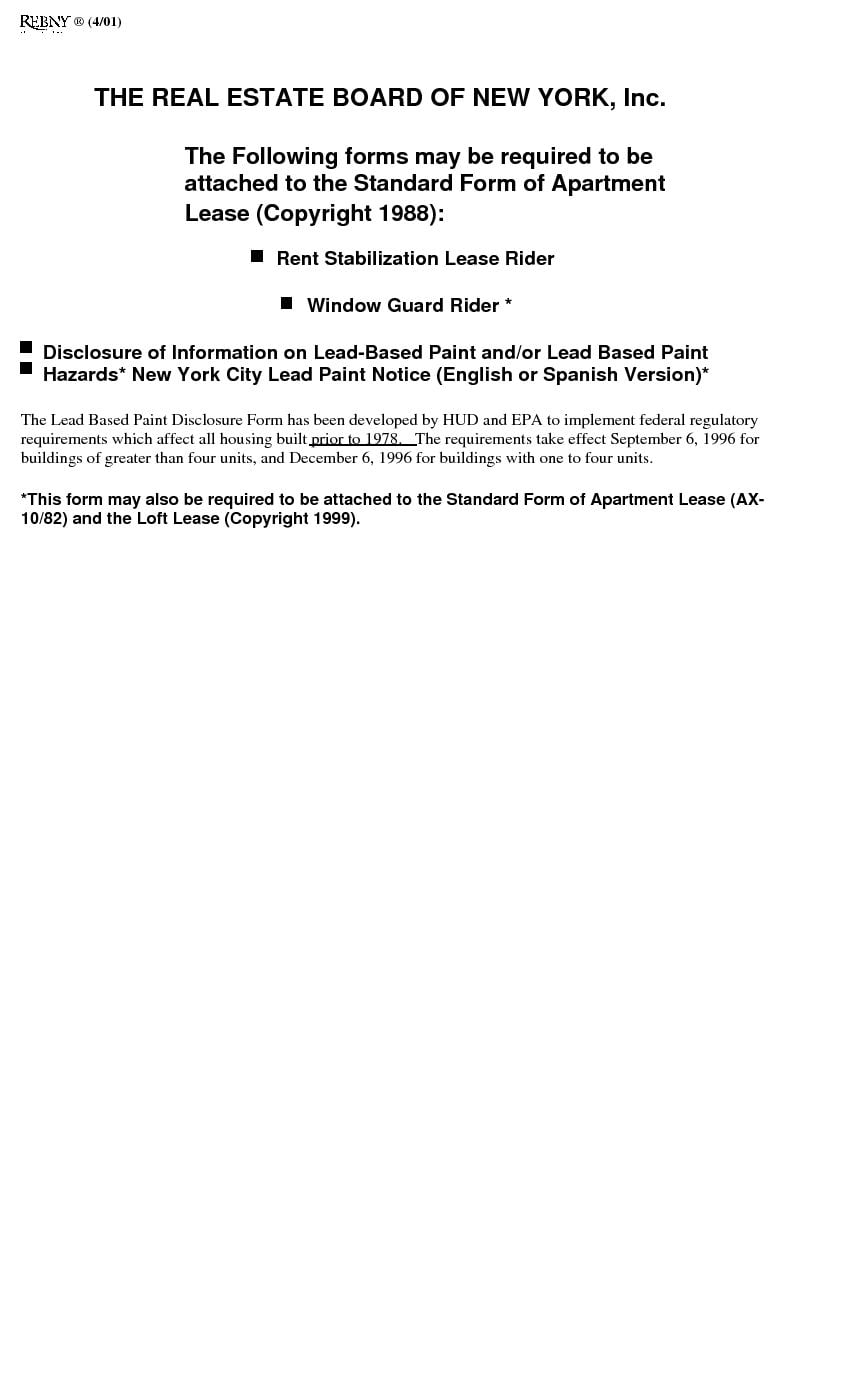 Download Free New York Standard Rental Lease Stabilized With Rider Printable Lease Agreement