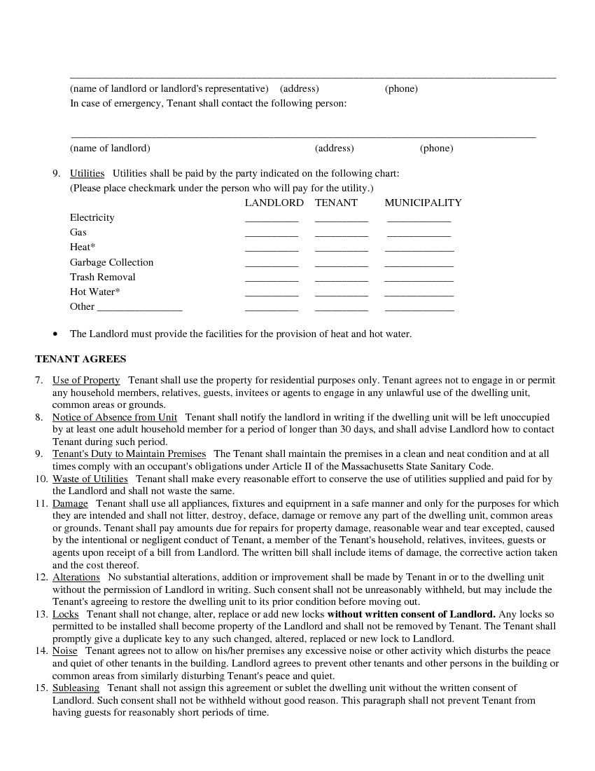 Download Free Sample Rental Lease Agreement Printable