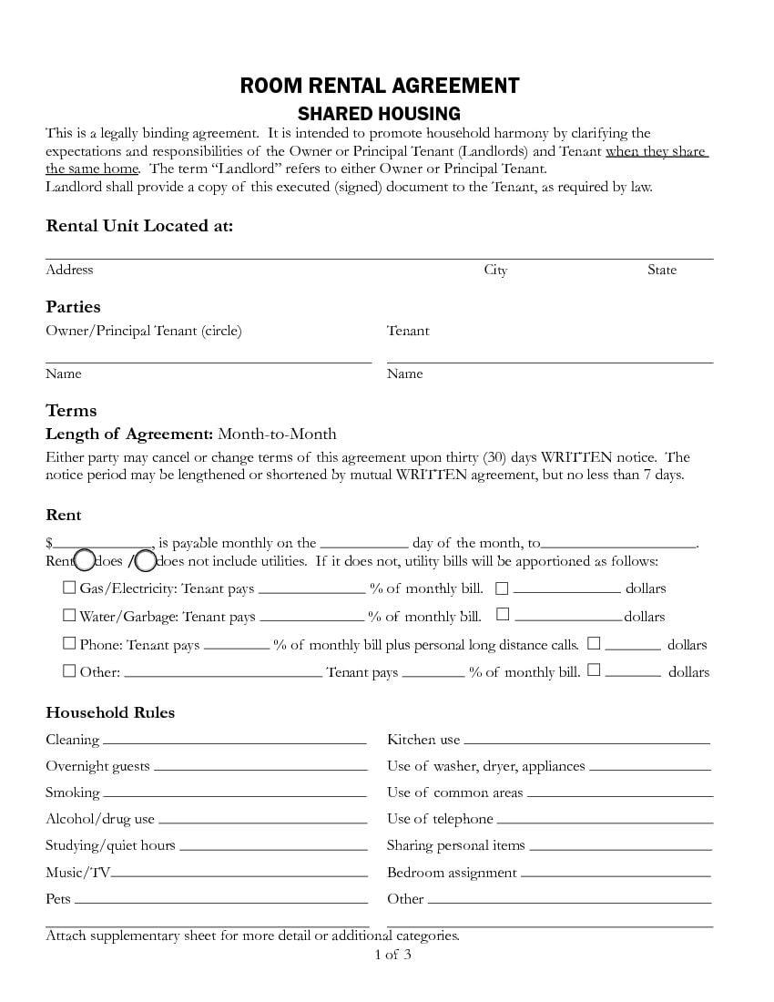 Download Free California Room Rental Agreement Printable