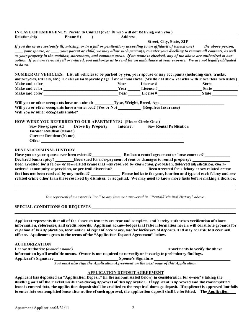 Download Free Texas Rental Lease Application Form
