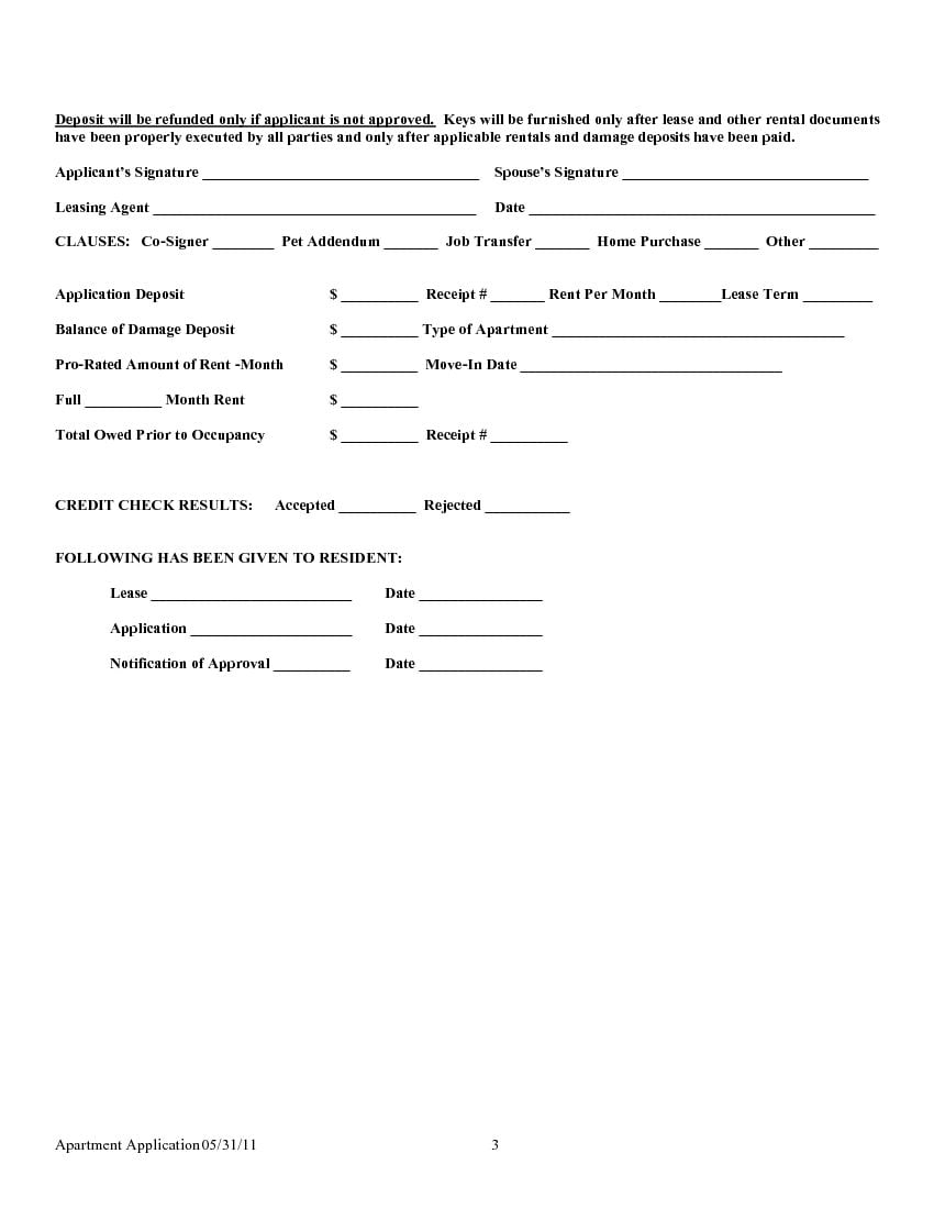 preview texas rental lease application form page 1 of 5