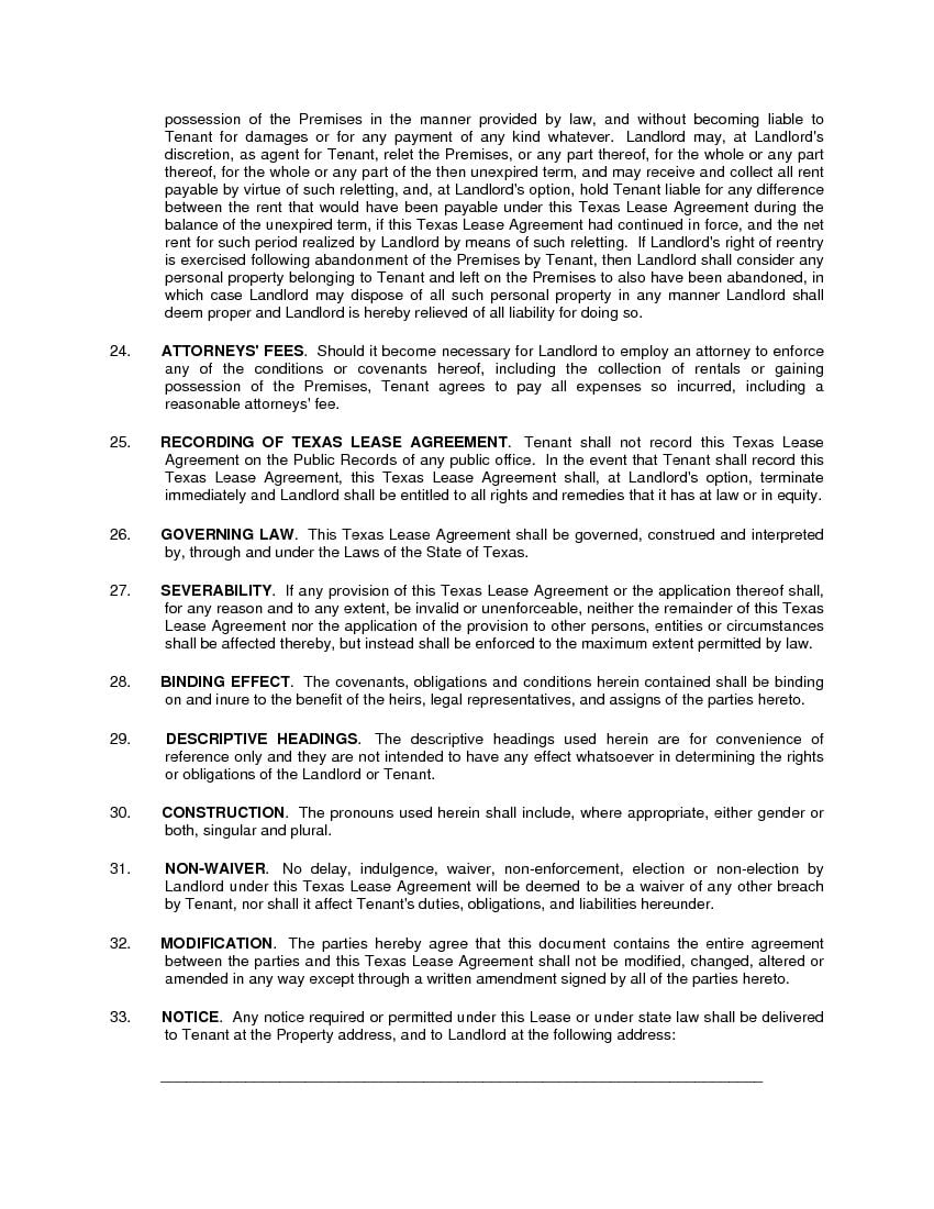 Download Free Texas Residential Lease Agreement Printable